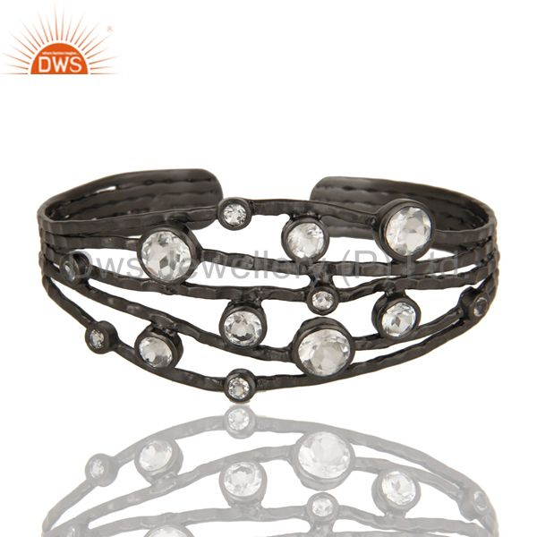 Exporter Black Oxidized Sterling Silver Wire Design Ring with Crystal Quartz & Topaz