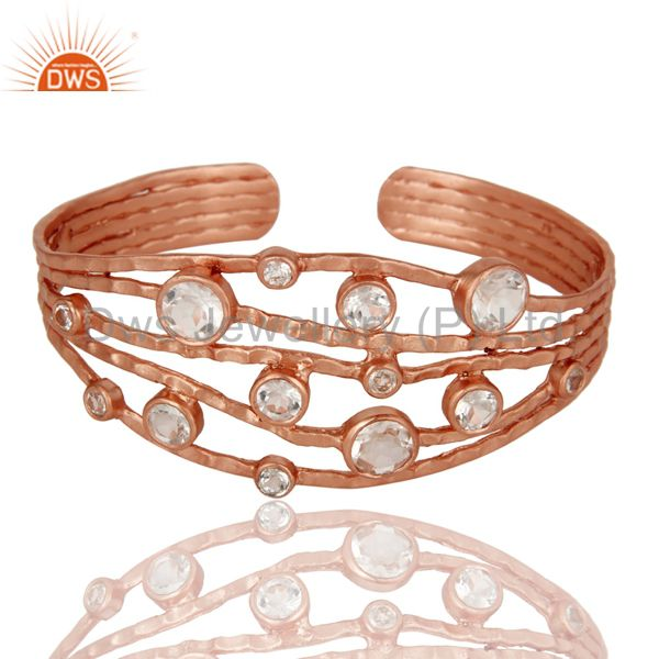 Exporter Rose Gold Plated Sterling Silver Wire Design Ring with Crystal Quartz & Topaz