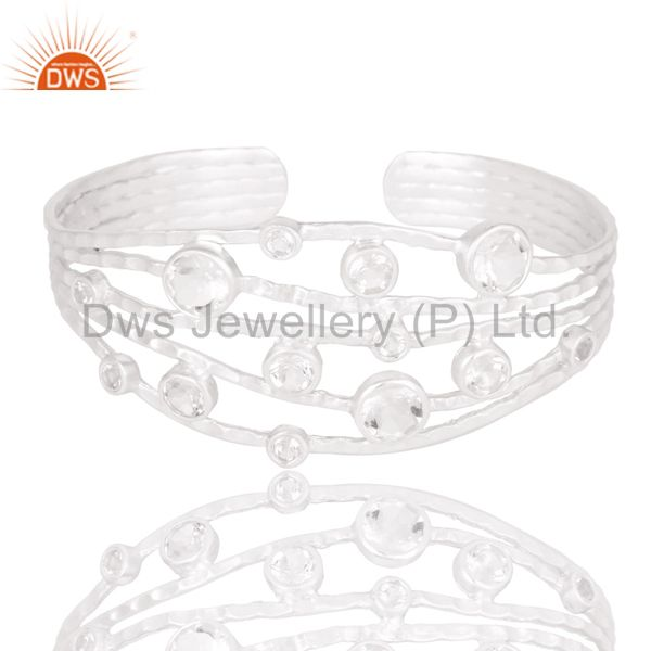 Exporter Fine Solid Sterling Silver Wire Design Ring with Crystal Quartz & White Topaz