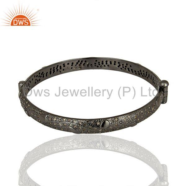 Supplier of Black rhodium plated pave diamond band bangle jewelry manufacturer