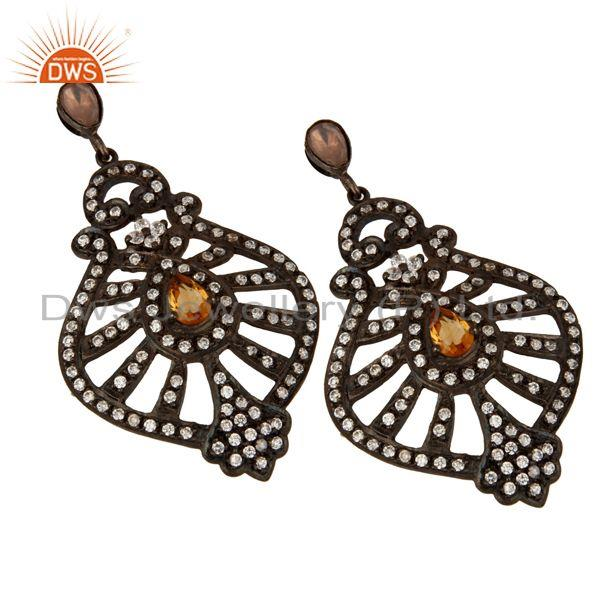 Exporter Rhodium Plated Sterling Silver Cubic Zirconia & Citrine Bridal Fashion Earring