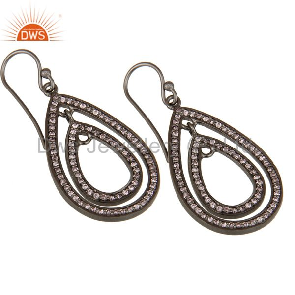 Exporter Oxidized Sterling Silver Pink Zirconia Vintage Fashion Dangle Earrings
