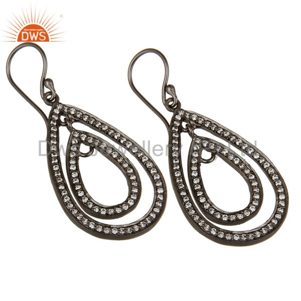 Exporter Oxidized Sterling Silver White Zirconia Vintage Fashion Dangle Earrings