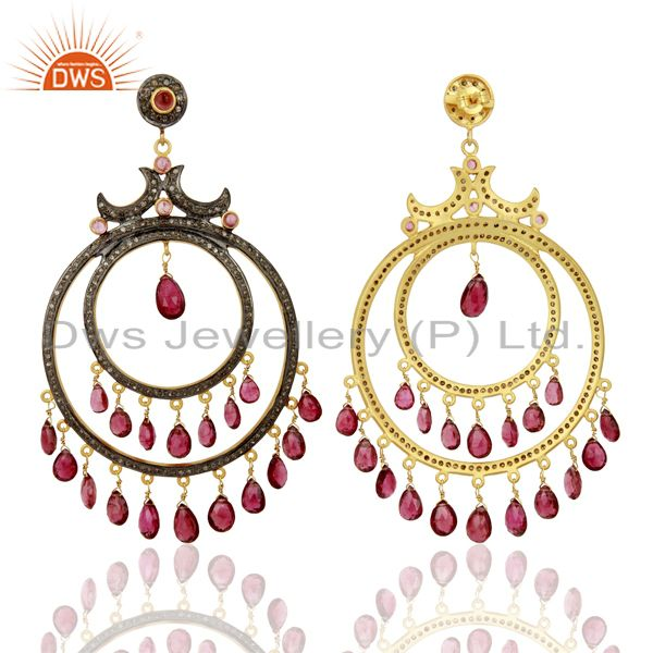 Exporter Natural Diamond And Pink Tourmaline Dangle Earring,Fashion Jewelry Earring
