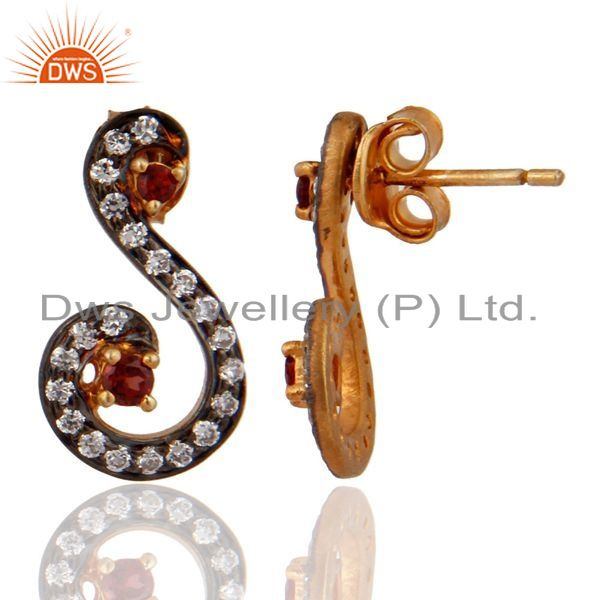 Exporter 925 Sterling SIlver Gold Plated Garnet & CZ Designer Womens Stud Earrings