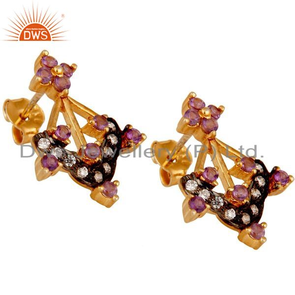 Exporter Gold Plated Sterling Silver Citrine Amethyst Garnet Gemstone Earring With Zircon