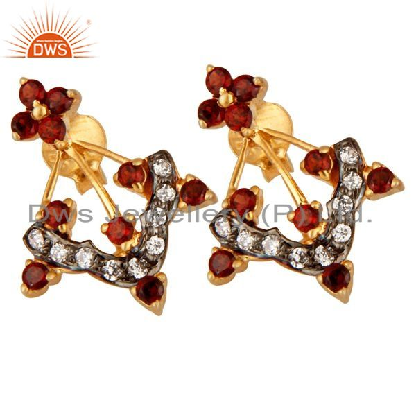 Exporter 18K Gold Plated 925 Sterling Silver Garnet Gemstone & White Zircon Stud Earring