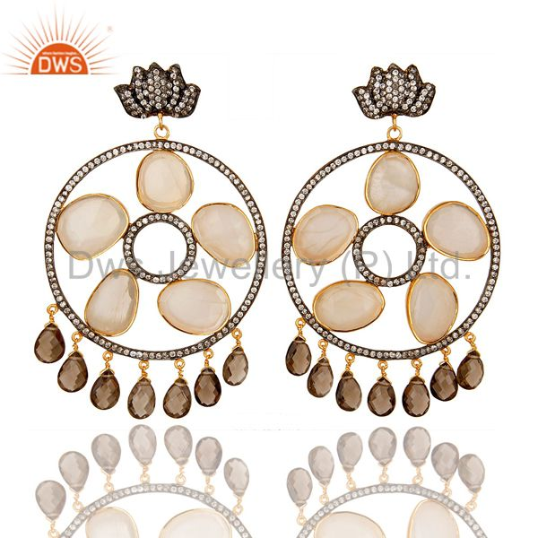 Exporter 18K Gold Plated Silver Rainbow Moonstone And Smoky Quartz Chandelier Earrings
