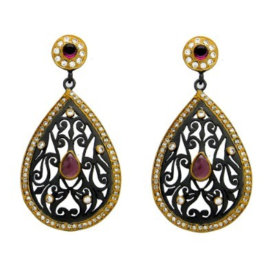 Exporter Oxidized 18K Gold Plated Sterling Silver CZ And Pink Tourmaline Dangle Earrings