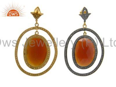 Exporter Red Onyx And Cubic Zirconia Dangle Earrings Made In 18K Gold Over Silver