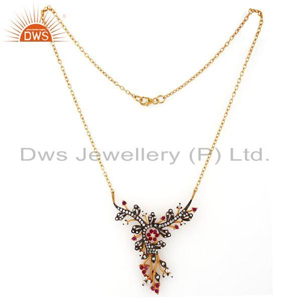 Exporter 925 Sterling Silver Cubic Zirconia Peacock Design Pendant Necklace For Women