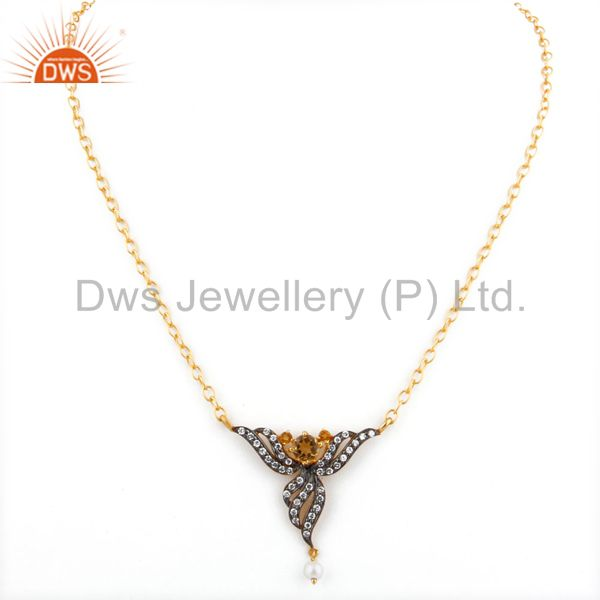 Exporter Lady Fashion Zircon Jewelry 5mm Yellow Citrine 18k Gold GP Pendant Necklace Gift