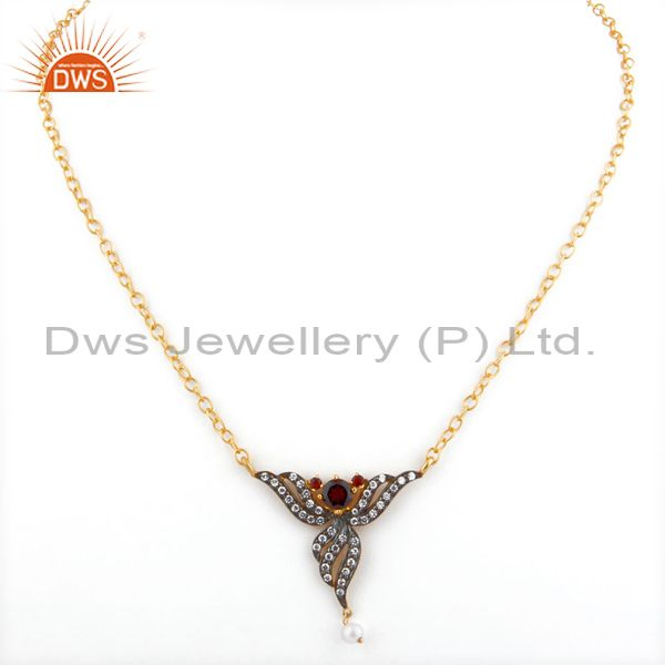 Exporter Pearl Fashion Jewelry Gift Red Garnet 24k Yellow Gold Gp Pendant Necklace Chain