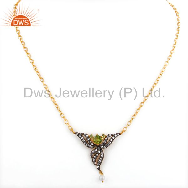 Exporter Ladies Peridot Gemstone Pendant Zircon 18k GOld GP Fashion Bridal Party Necklace