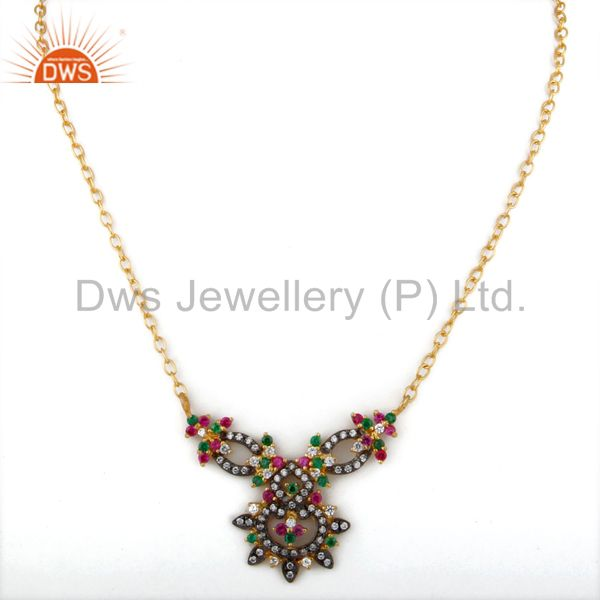 Exporter 18K Yellow Gold Plated Multi-colored Cubic Zirconia Necklace Fashion Jewelry