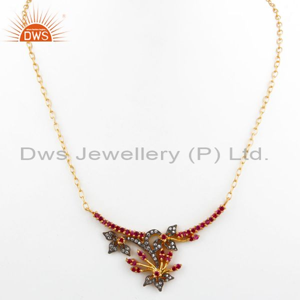 Exporter 18K Yellow Gold Plated Multi-colored Cubic Zirconia Antique Style Necklace