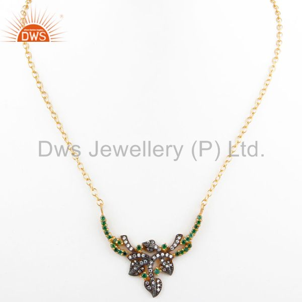 Exporter Emerald Green Cubic Zirconia 18K Yellow Gold Plated Ladies Fashion Necklace