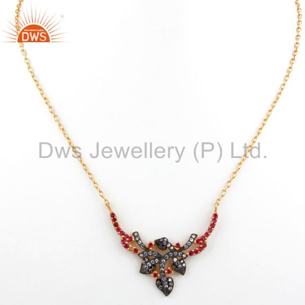 Exporter White And Red Cubic Zirconia 18K Yellow Gold Plated Sterling Silver Necklace