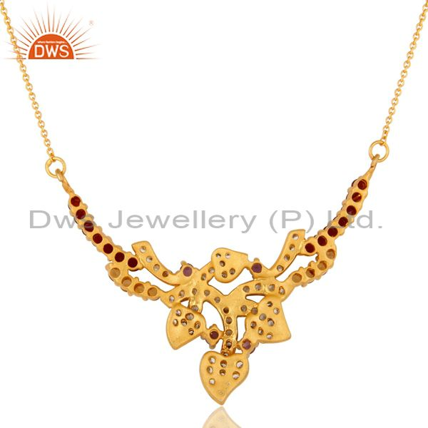 Exporter 14K Yellow Gold Plated Sterling Silver Amethyst And CZ Floral Designer Necklace