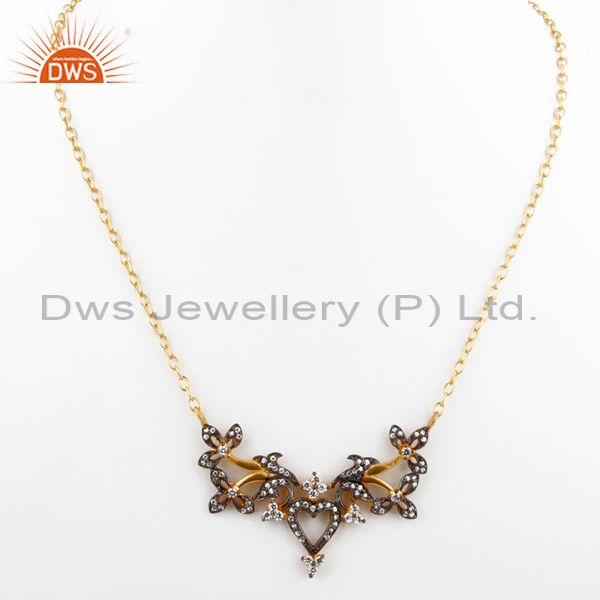 Exporter 18K Yellow Gold Plated Brass Cubic Zirconia Designer Fashion Necklace