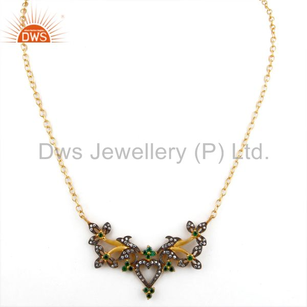 Exporter 18K Yellow Gold Plated Brass Cubic Zirconia Unique Design Fashion Necklace