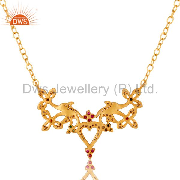 Exporter 18K Yellow Gold Plated Brass Multi Cubic Zirconia Unique Design Fashion Necklace