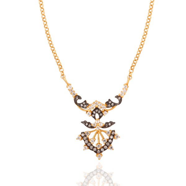 Exporter 22K Yellow Gold Plated Sterling Silver Cubic Zirconia Designer Fashion Necklace