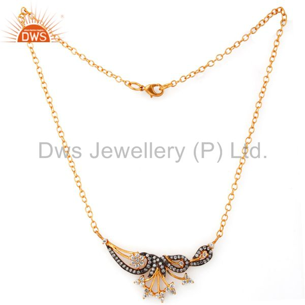 Exporter Designer 18k Gold Plated Stunning White Cubic Zirconia Handmade Necklace Jewelry