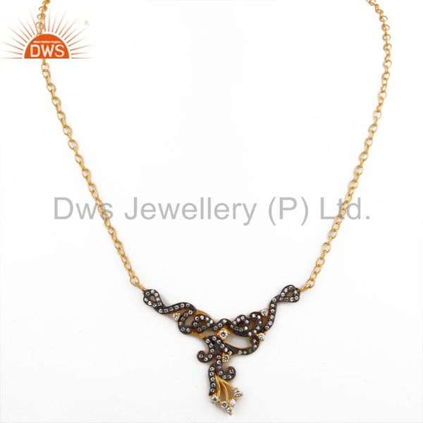 Exporter Designer Cubic Zirconia Ladies Fashion Necklace With Yellow Gold Plated