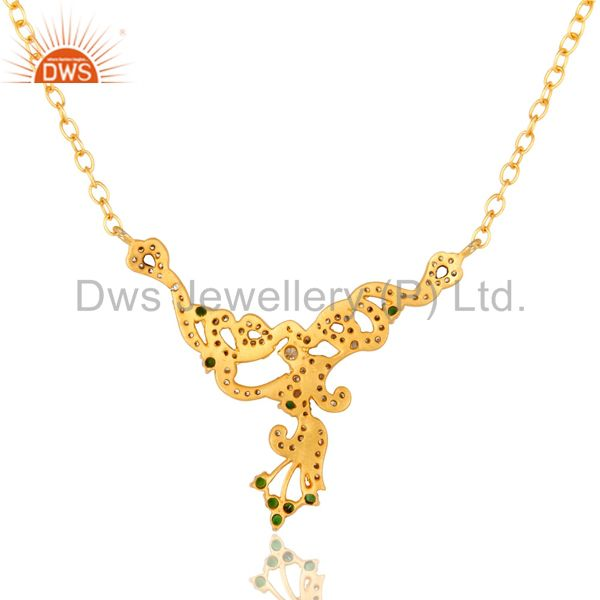 Exporter 18K Yellow Gold Plated Brass Cubic Zirconia Fashion Designer Necklace