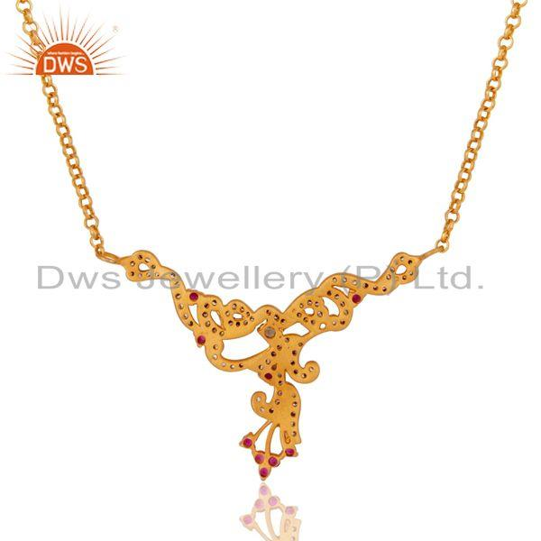 Exporter 18K Gold Plated Sterling Silver Multi Cubic Zirconia Womens Fashion Necklace