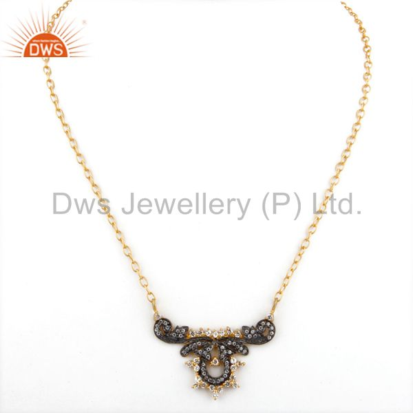 Exporter 18K Yellow Gold Plated Designer Cubic Zirconia Womens Fashion Necklace