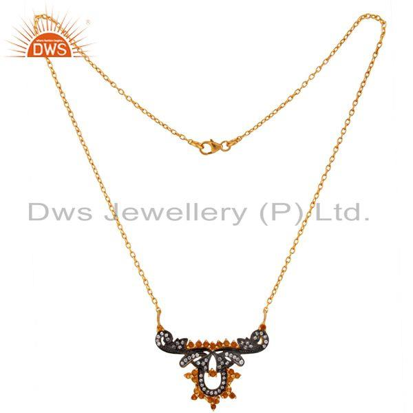 Exporter 925 Serling SIlver White Cubic Zirconia & Citrine Gemstone Pendant Necklace 15
