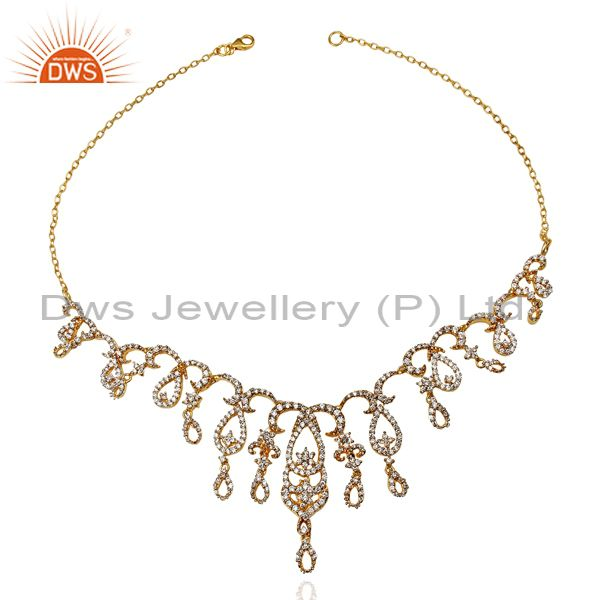 Exporter 24K Yellow Gold Plated Sterling Silver Cubic Zirconia Designer Fashion Necklace