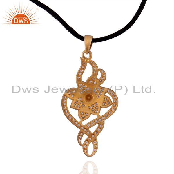 Exporter Natural Citrine Pendant With 925 Sterling Silver Cubic Zircon Gold Plated Fashio