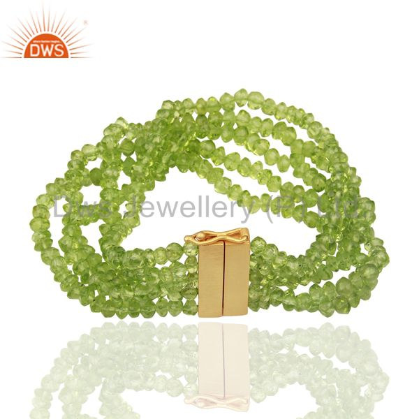 Exporter Peridot Multi Strand 18K Yellow Gold Plated Sterling Silver Bracelet Jewelry