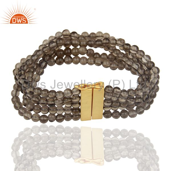 Exporter Smoky Quartz Multi Strand 18K Gold Plated 925 Sterling Silver Bracelet Jewelry