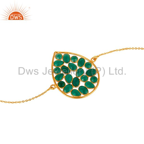 Exporter 14K Gold Plated 925 Silver Green Onyx Gemstone Chain Bracelet With Lobster Lock