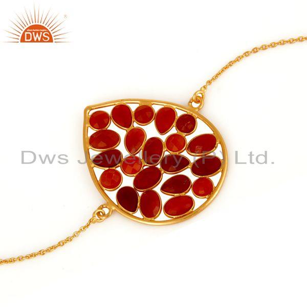 Exporter Red Onyx Gemstone 925 Sterling Silver With18K Yellow Gold-Plated Chain Bracelet