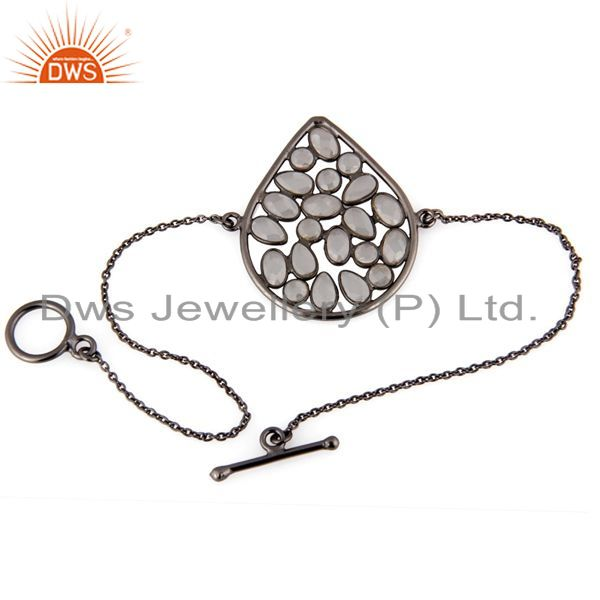 Exporter Oxidized Sterling Silver White Cubic Zirconia Fashion Chain Bracelet Jewelry