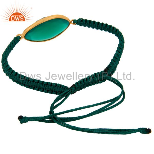 Exporter Handmade 925 Sterling Silver Macrame Gold Plated Green Onyx Bracelet Jewelry