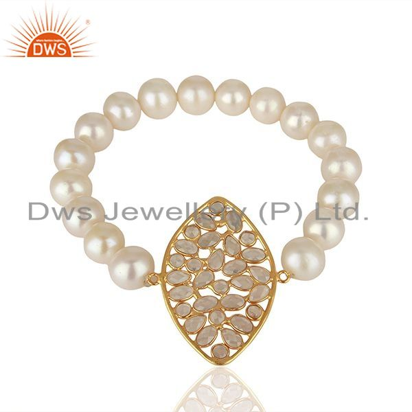 Exporter 18K Yellow Gold Plated Sterling Silver CZ And White Pearl Beads Stretch Bracelet