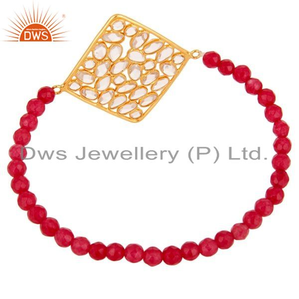 Exporter Gold Plated Sterling Silver Cubic Zirconia Charms Glass Beads Stretch Bracelet