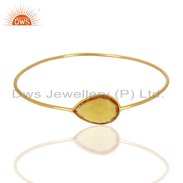 Supplier of Hydro citrine gemstone gold on 925 silver bangle supplier jewelry