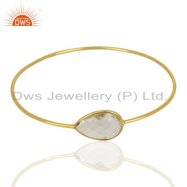 Supplier of Handmade gold plated 925 silver crystal quartz gemstone bangles