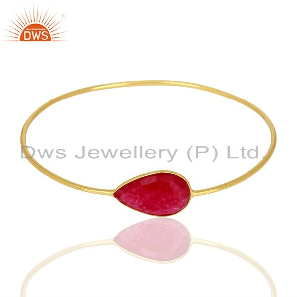 Supplier of Red aventurine gemstone gold on 925 silver bangle jewelry supplier