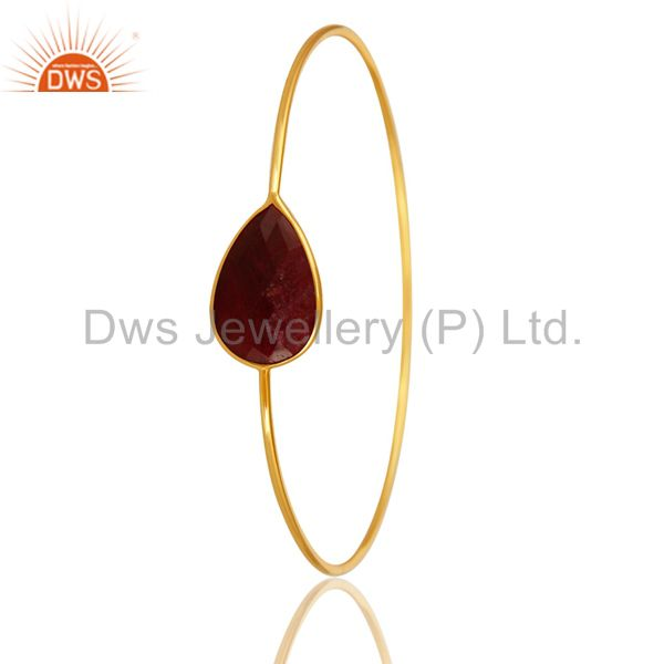 Exporter Red Ruby Corundum Gemstone Sterling Silver Bangle With Yellow Gold Plated