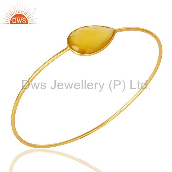 Supplier of 14k yellow gold sterling silver yellow chalcedony stackable bangle