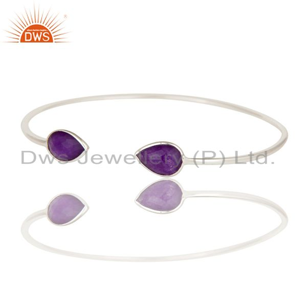 Exporter Solid 925 Sterling Silver High Polish Natural Purple Aventurine Cuff Bangle