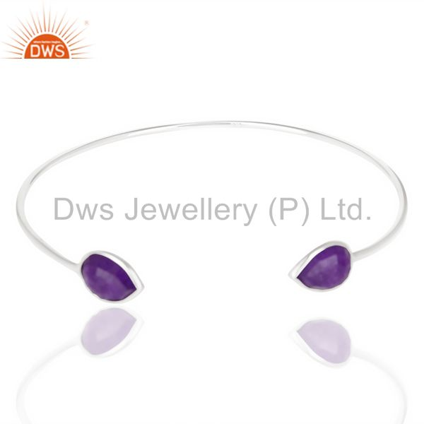 Exporter Amethyst Chlacedony Adjustable Openable White Rhodium 925 Sterling Silver Bangle